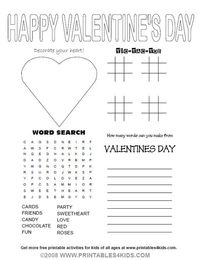 "Valentines Day Party Activity Sheet : Printables for Kids �€"" free word search puzzles, coloring pages, and other activities"