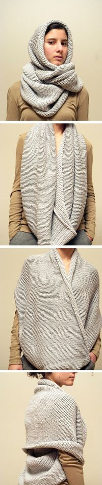 4 Different ways to wear a snood / eternity scarf. I would add a belt too for fun..