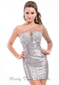 Gunmetal Beaded Short Rachel Allan 6328 One Shoulder Dress