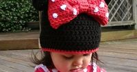 Pattern Minnie Mouse Ears Crochet Beanie PDF - Instructions to make a beanie or earflap hat in 6 sizes from newborn to adult. $3.99, via Etsy.