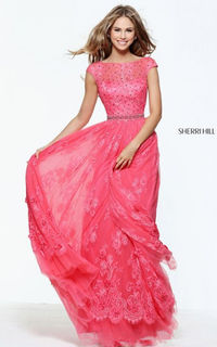 Captivating Sherri Hill prom dress 50969 is made in a gorgeous lace fabric.   Back Style: Back Zipper