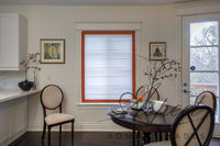"""Roman Shade """"Cheval White with four sides Border"""", flat roman shade with chain mechanism, custom made window treatment $215.00"""