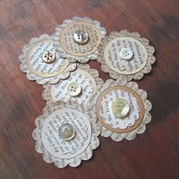 Vintage Paper Ephemera Embellishments-- Assorted Upcycled Book Pages & Buttons (E-01). $4.49, via Etsy.