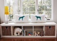 Window seat bench out of ikea shelf - I want to make something like this for under our huge window in the living room!