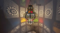Moroccan Colorful Chandelier - Marrakesh Handmade Brass Copper And Glass Lampshade Lamp, gives beautiful shades on walls and ceiling $220.00