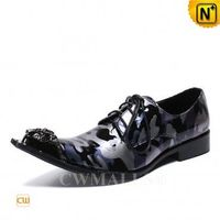 Men Leather Shoes | Lace Up Camo Printed Dress Shoes CW719278 | CWMALLS.COM