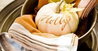 Craft these easy place cards and napkins rings to designate spots at the Thanksgiving dinner table. We've also got bonus kids' table Thanksgiving decorations at