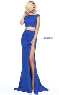 2017 Two-Piece Royal Off Shoulder Beads Slit Evening Dress By Sherri Hill 50866