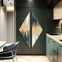 Framed wall art Set of 2 wall art abstract paintings on canvas original Gold art teal green Creative Triangle Painting Triangular $619.00
