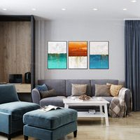 Framed painting Set of 3 wall art Gold paintings on canvas blue green sea texture painting seascape painting 3 piece wall art pictures $198.00