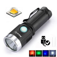 AloneFire X901 XML2 1000Lumens 6Modes 4 Color Light USB Rechargeable LED Flashlight + Battery + USB Charger