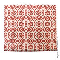Custom Linen Roman Shades With Bold Coral Orange Design $97.00