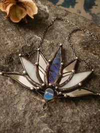 Big Lotus 7 wings, Boho Lotus, Flower necklace, Mantra Pin, Glass Lotus pendant, Iridescent Stain glass, Handcraft, Handmade charm $43.00