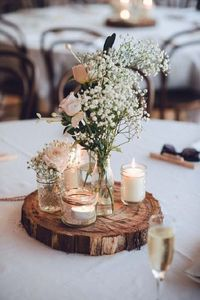 Unique wedding reception ideas on a budget - Old glasses + candles and wooden slice used for wedding centerpieces, unique wedding ideas,cool wedding ideas and k