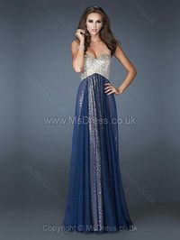 Empire Sweetheart Chiffon Sequined Floor-length Beading Prom Dresses