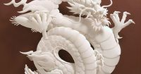 """Corkscrew Dragon"" Fantastic Paper Scultpures by Jeff Nishinaka"