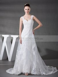 FLORAL STRAPS ORGANZA AND SATIN WEDDING DRESS WITH APPLIQUE