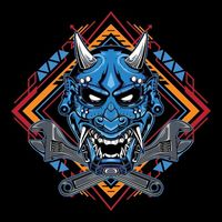 Japanese devil mask hannya with big wrench emblem | Premium Vector.