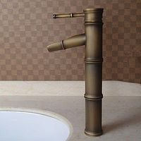 Antique Brass Finish Bathroom Sink Taps - Bamboo Shape Design