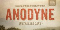 Anodyne is a warm and weathered all-caps font from Yellow Design Studio with hand-printed texture and unique shadow options.