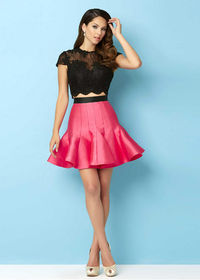 Hot Trendy Black Lace Beaded Top Two Piece Lipstick Ruffled Prom Dress