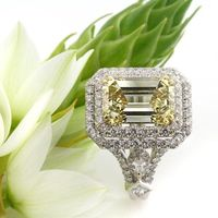 Mark Broumand 7.37ct Fancy Brownish Yellow Emerald Cut Diamond Engagement Ring: Mark Broumand: Jewelry