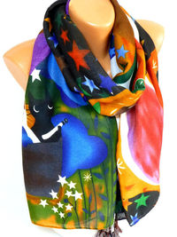 Scarf, Cat print Scarf, Scarves, Shawl, Cat and Owl Printed Scarf, Cotton scarves, Womens Accessories, Gifts for Christmas, for Mothers day $18.50