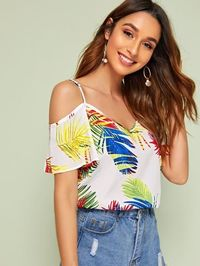 Cold Shoulder Leaves Print Top �'�630.00