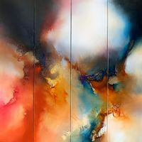 Original, contemporary, abstract expressionist painting on quadtych canvases by Simon Kenny $12345.00