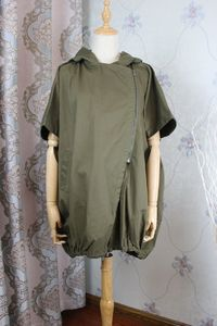 Women coat, cotton Jacket, Cotton Oversized coat, Hooded blouse, half sleeve coat