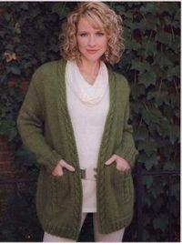 Green cardigan with cables-free knitting pattern