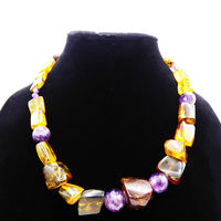 Vintage Amber & Amethyst Beaded Necklace with Graduated Large Nugget Beads Yellow Purple and Sterling Silver Clasp Marked 925 Artist Design $98.00
