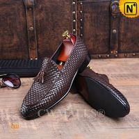 Men Leather Shoes | CWMALLS® Rome Leather Woven Tassel Loafers CW708118 [Handmade, Free Shipping]