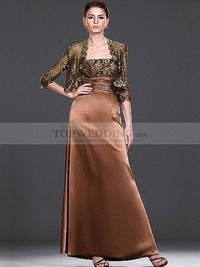 Elastic Satin Ankle Length Mother of the Bride Dress with Jacket