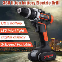 36V LED Light Cordless Electric Drill Double Speed Digital Display Lithium Battery Household Power Drills
