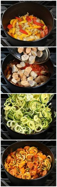 Sausage & Peppers w Zucchini Noodles & hearty pasta sauce - topped off w/yummy melted blend of Mozzarella, Asiago, & Parmesan cheese.