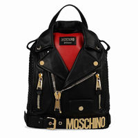 Moschino Biker Jacket Leather Backpack Black