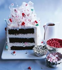 I would love to make this cake some day - peppermint ice cream, dark chocolate cake, and peppermint-sugar shatters for decoration. I think they also have some red hots and sugar balls.
