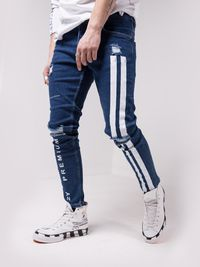 MENS STREET STYLE BLUE JEANS WHITE STRIPES 4621 $82.00