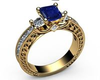 Sapphire Gold ring Unique Sapphire Diamond Engagement ring 3-stone Ring channel trellis Engraved 18K White Yellow or Rose gold Jewelry $2510.00