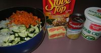 *****Zucchini casserole-grate all the veggies and avoid the 'cook before assembling' step.