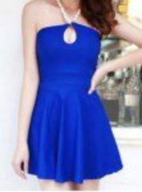 Sexy Pearl Halter Neck Keyhole Backless Solid Color Dress For Women
