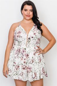20% discount with BESTDEAL at checkout! Plus Size Floral Print Lace Trim Cut Out Back Romper $24.50