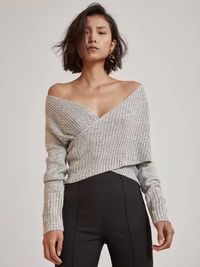 Sexy Cross V-Neck Long Sleeves Sweater $47.00