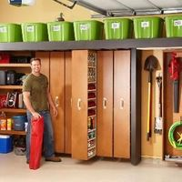 Portions of this Garage Storage idea would be great in a bedroom. The pull out shelving would be great for accessories like shoes, purses, belts and so on.