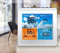 Loskii CJ5528-14DAY LCD RF Wireless Weather Station Table Alarm Clock Calendar 12/24 Hours Indoor/Outdoor Temperature Color Screen Display with Outdoor Sensor