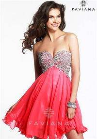 Faviana 7425 Beaded Short Homecoming Dresses