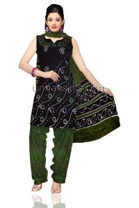 Unstitched casual rustic black and green Batik pure cotton salwar kameez