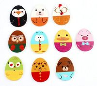 Assorted Mix of Wooden Easter Egg Buttons. 20 or 50. Cute Animal Faces. Children's Crafts. Sewing, Dressmaking, Upholstery and Fancy Dress £2.99
