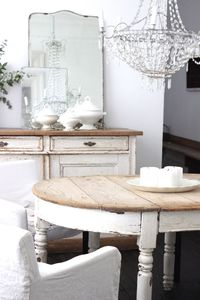 Painted Antique Table : White with Natural Stripped Wood Top :: painted furniture